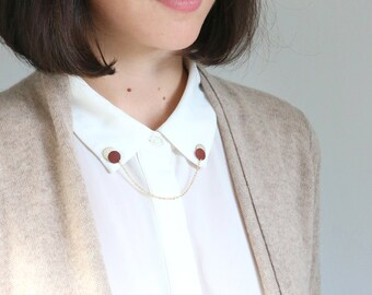 New ⋆ Collar brooches AMY | pin's of burgundy and golden leather, gold plated chain