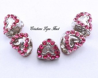 Charms plated heart-shaped silver with red stone to place on your European Bracelet