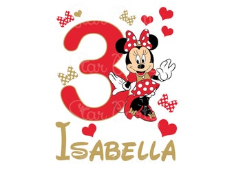 Personalized Minnie Mouse Digital Image for T shirt Printable Iron On Transfer Sticker custom Birthday Shirt image