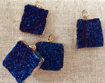 Brilliant Agate Druzy Square with 14kt gold plate Pendant in Midnight