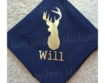 Stadium Blanket with Deer Head Silhouette and Name Personalization