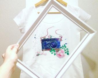 Vintage camera and rose watercolor T-shirt