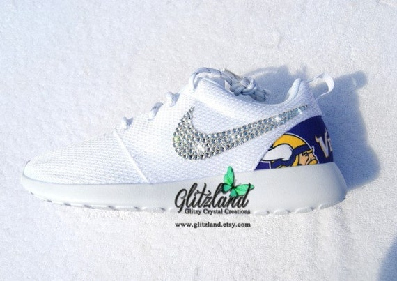 cheap Swarovski Nike Roshe Run w Minnesota Vikings Print by Glitzland 7ef915c8ca