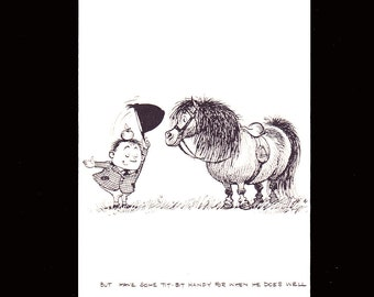 """Norman Thelwell's delightful humorous 1962 mounted comic cartoon pony print titled """"But have some tit-bit handy for when he does well"""""""