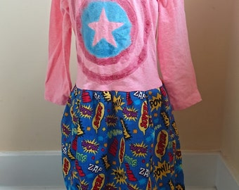 Superhero Dress - Captain America comic book T-shirt Party Dress - size 5t