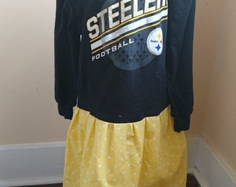 Steelers Dress Black and Gold Pittsburgh Steelers long sleeved t-shirt Party Dress size 4/6
