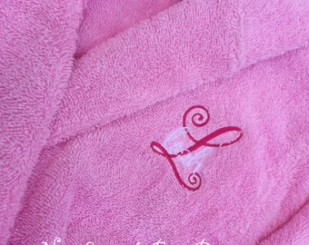 Girls Fancy Super Sweet Monogrammed All Natural Cotton Terry Cloth Bath Robes