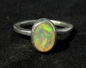 92.5K Sterling Silver Natural Ethiopian Welo Opal Ring (Beautiful Play of color)-welo opal Silver Jewelry-9x6 M.M. Faceted Opal Ring DM:-10