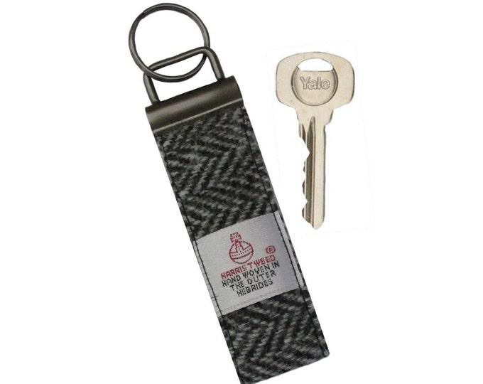 Harris Tweed Black & Grey Herringbone Pure Wool Keyring On Chunky Metal Key Fob