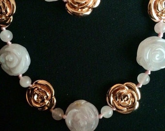 Amedeo Pink Rose Necklace & Earring Set
