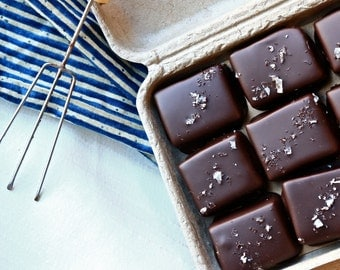 Sea Salt Caramels (Organic, Fair Trade Dark Chocolate, Soy-free, Chocolate Covered)