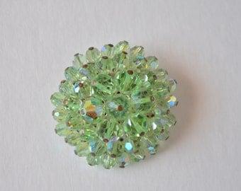 Vintage Green Aurora Borealis Crystal Bead Round Circle Brooch Pin