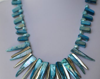 Blue Mother-of-Pearl Fresh Water Pearl Bead Necklace  Free shipping in the U.S.