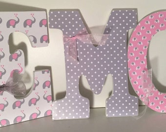 Pink and gray Wall letters, for girls room, baby nursery letters, Decorative wall letters, elephant decor, girls room, custom wall letters