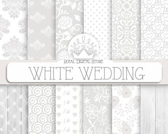 "Wedding digital paper: ""WHITE WEDDING"" with wedding background, wedding pattern on white, grey for wedding invitations, cards, scrapbooking"
