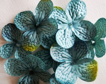 Silk Flowers- 20 Turquoise Hydrangea Petals - Hydrangea Blossoms in Aqua Green - Artificial Flowers