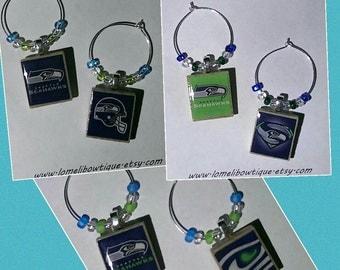Seattle Seahawks ~ Scrabble Tile Wine Charms (Set of 6) ~ Gift ~ Party Favor ~ Sports Fan