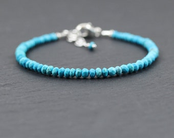 Turquoise Bracelet in Sterling Silver or Gold Filled. Dainty Beaded Stacking Bracelet. Delicate Natural AAA Gemstone Jewelry. Jewellery