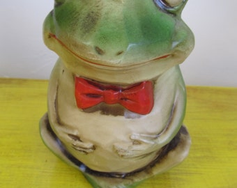 Vintage Wood Frog Bank with Rhinestone Eyes
