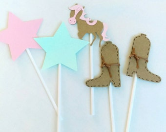 Pink Pony cupcake toppers, pony theme, pony birthday party, horse toppers, pony decorations