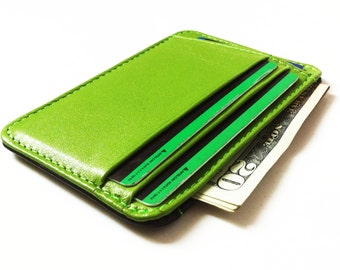 Phoenixwallets Minimalist Leather Wallet (Lime Green/ Black)