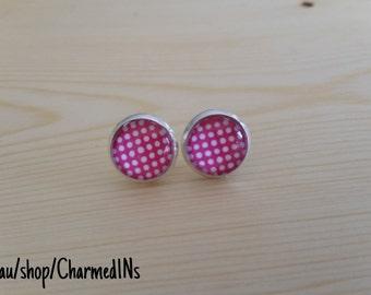 Pink dotty stud earrings