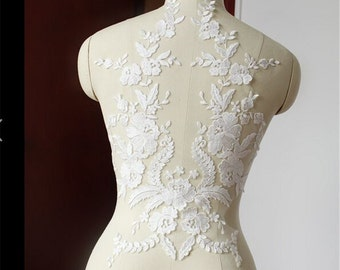 Wedding Lace Applique, Lace Embroidery Motif, Floral Lace Motif Trim, Bridal lace Applique, Ivory Wedding Accessory, 1 Piece