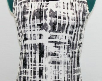 Black and White Sleeveless Top with striped abstract design.  By Joseph A. Summer top, unique top, stylist top, pretty top