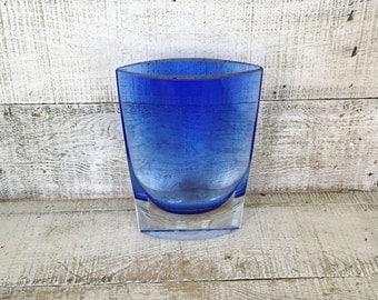 Vase Glass Vase Blue Glass Vase Krosno Glass Vase Hand Blown Glass Vase Art Glass Vase  Mid Century Modern Vase Flower Vase Unique Gift