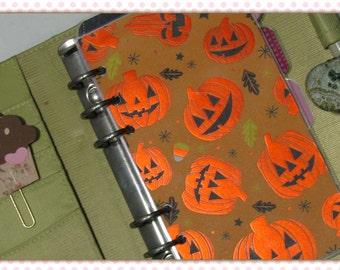 FOIL Halloween Jack-O-Lantern Pumpkins Personal Planner Dashboard
