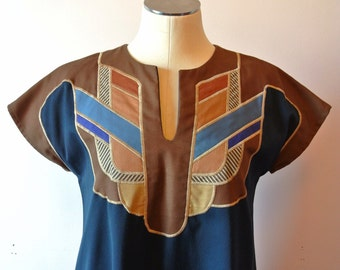 1970's Vintage Ethnic Trapeze Dress with Pockets