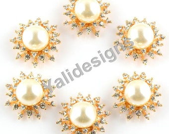 Set of 5pcs 30mm Metal Spark Rhinestone & Pearl Brooch-Sun Crystal Style-Pearl Centers-Wedding For Headbands or Hair Clips-YTB47