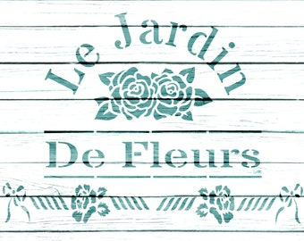 Re-usable Mylar Stencil LE JARDIN,  Furniture, Fabric, French, Vintage, Shabby Chic