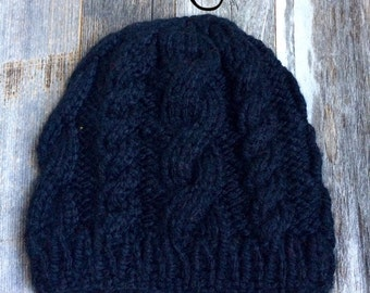 Custom Cable Knit Hat - Black - Child - Ready to Ship