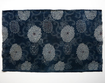 Katazome Indigo Cotton Textile. 3 colors. Flower Design. Japanese Antique Fabric. 01165