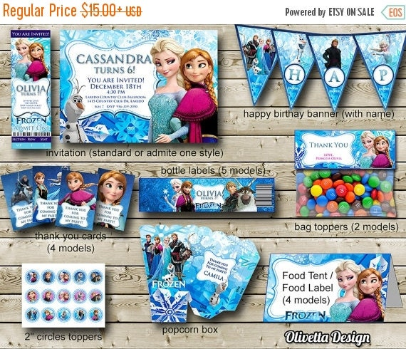 ON SALE 30% Frozen Birthday Party Package By OlivettaDesign
