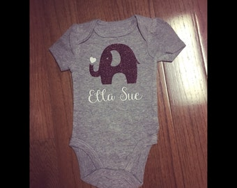 Elephant onesie with name