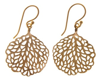Handmade Gold-plated Sterling Silver Leaf Earrings