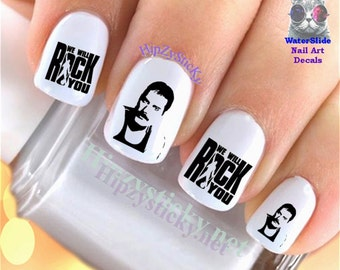 Character nail decals queen rock band group character nail decals queen freddy rock band group nail art set638 waterslide prinsesfo Images
