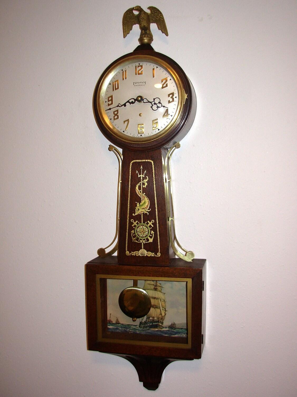 Vintage Ingraham Nautical Banjo Pendulum Clock