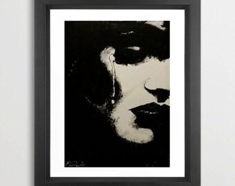Solitaire by Vakseen - Women Art Print - Portrait Art Print - Sad Art - Black and white Prints - Pop Art - Black girl art - Unique gifts