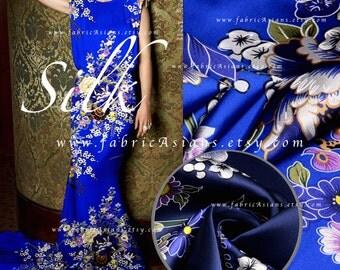 Royal Blue Satin Stretch Silk Fabric
