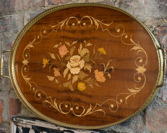 Vintage 1940's Wooden Serving Tray