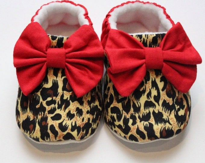 Leopard Print baby shoe with bright red bow, soft sole crib shoe,pre walker