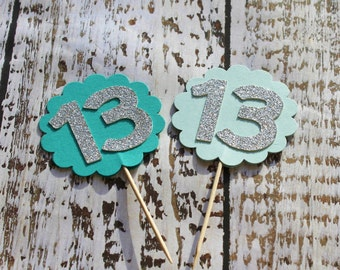 Cupcake toppers for thirteen year old, scalloped circle with silver glitter number thirteen