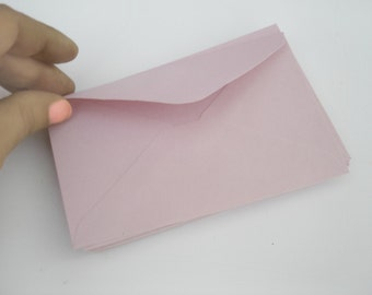 Mini Paper Envelopes x20 in Pastel Pink Color, Small Size 7.6x12 cm, For Stationary, Business, Baby Shower...