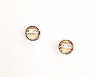Hypoallergenic Glass Cab Earrings 8mm (Surgical Stainless Steel) - Southwest