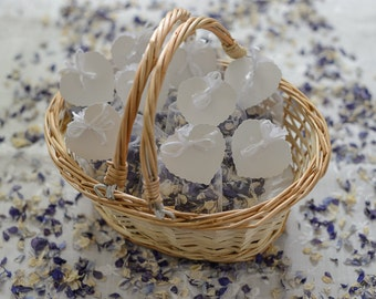 Flower Girl Basket With Natural Delphinium Petal Confetti | Wedding Flower Girl Basket | Confetti Basket Hand Decorated | Natural Petals
