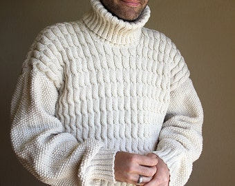 Beige winter mens sweater. Cable hand knitted sweater. Fisherman Sweater.