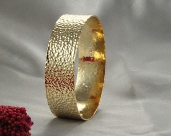 Gold Bangles, Gold handmade Bangle Rustic Bangle, Bangle Bracelet, Yellow Gold Woman Bracelet, Gold Bracelet,anniversary gift , Wide Bangle